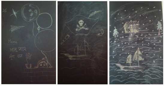 l to r: the menu when we invited some friends over for game-night; some POTC-inspired artwork; a 4-year old-ish attempt to mirror the view from my window today morning