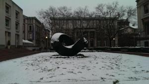Snow lends character to even the Ugly Squiggly (Modern Art) Installation in front of Uris