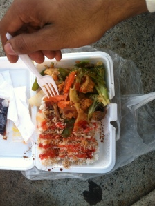 Chinese Takeout! A total life-(and money-)saver. Pic of bean-curd with veggies and rice